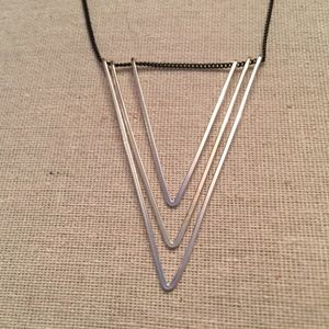 Jewelry - Silver Tone Geometric Necklace On Black Chain